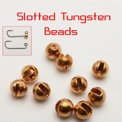 Slotted Tungsten beads – Copper – 3,5mm