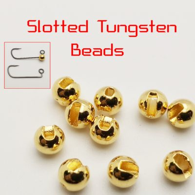 Slotted Tungsten beads - Gold - 3mm